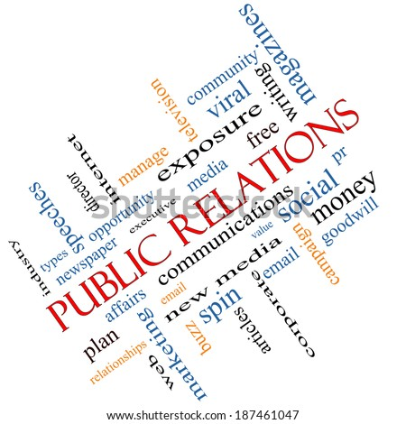 Public Relations Word Cloud angled Concept with great terms such as social, viral, affairs and more.