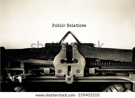 Public Relations word typed on a Vintage Typewriter.  Stock photo ©