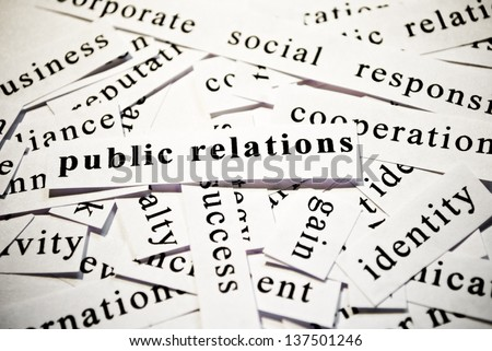 Public Relations. Words related with business.