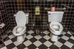 Public restroom with two toilets side by side, an unusual and humorous sight.
