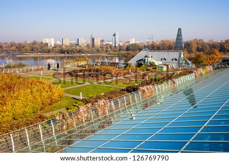 Public roof garden of Warsaw University Library in Poland, Vistula river and Prague district in the background.