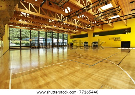 public school, interior wide gym