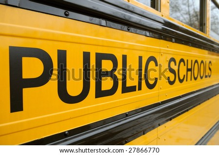 Public School sign detail on school bus