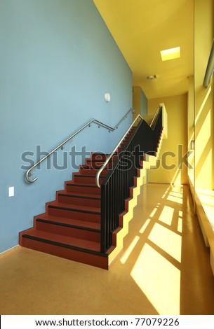public school, staircase and corridor, interior
