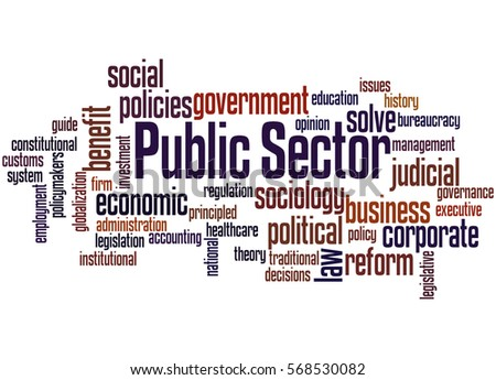 Public Sector, word cloud concept on white background.