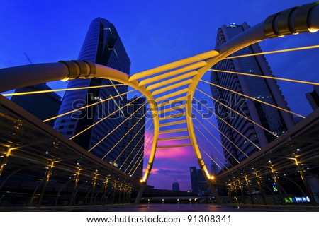 Public skywalk at Bangkok downtown square ,Thailand