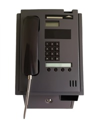 public telephone with chips on a white background