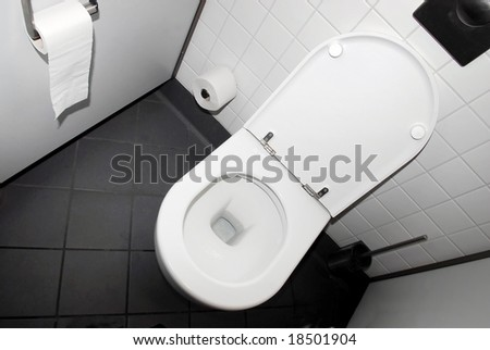 Public toilet in black and white