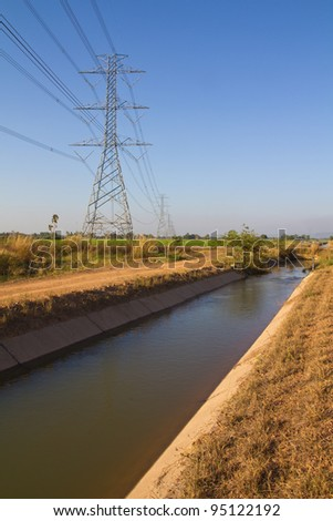 Public utilities, irrigation canal and high voltage pylon