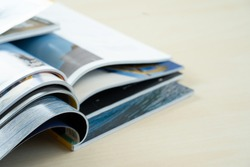 publication Newspaper and journal books background and catalog design article magazine press Newspaper with tablet