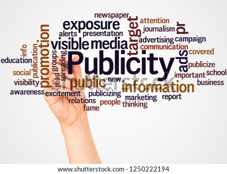 Publicity word cloud and hand with marker concept on white background.