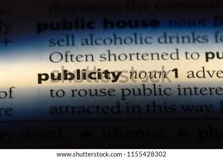 publicity word in a dictionary. publicity concept.