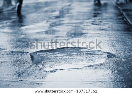 Puddle of water in rain