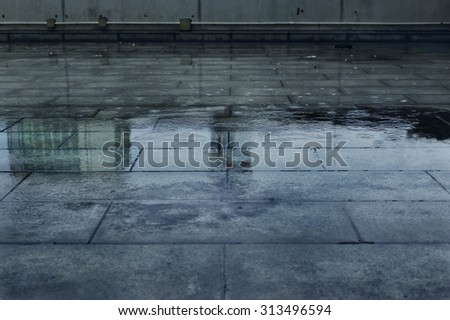 Shutterstock Puddle of Water in Rainy Day.