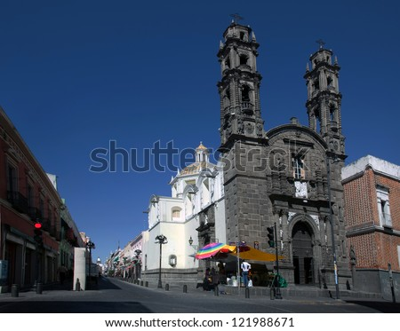 PUEBLA, MEXICO - NOVEMBER 19: Church of San Cristobal on November 19, 2012 in Puebla, Mexico. The church was built in 1687 and is characterized as \