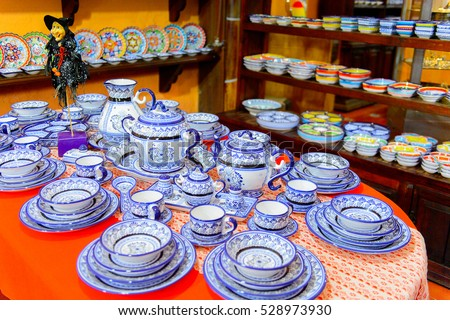 PUEBLA, MEXICO - OCT 30, 2016: Interior of the shop which sells articles made of talavera,  Mexican traditional type of maiolica pottery, distinguished by a white glaze