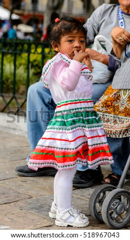puebla mexico oct 30 2016 unidentified girl wears the national