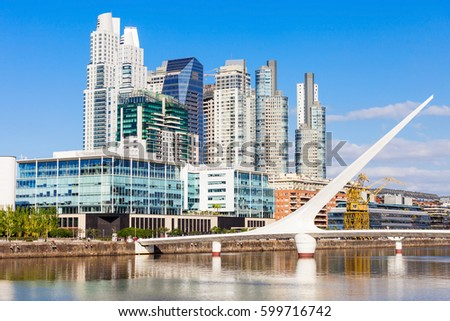 Shutterstock Puente de la Mujer (Womens Bridge), is a rotating footbridge for Dock 3 of the Puerto Madero district of Buenos Aires, Argentina