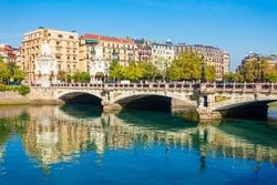 Puente Maria Cristina bridge in San Sebastian or Donostia city in Spain