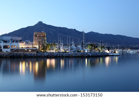 Puerto Banus at dusk, marina of Marbella, Spain