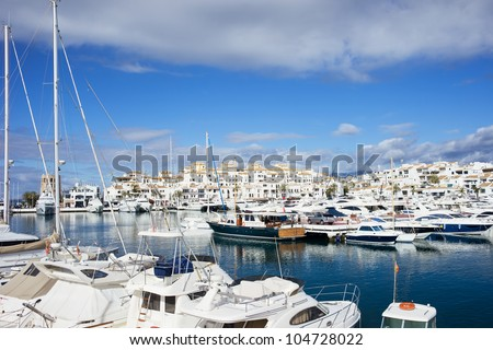Puerto Banus holiday resort marina on Costa del Sol in Spain, southern Andalusia region, Malaga province.