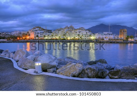 Puerto Banus in the night.Puerto Banus is the expression of luxury for Costa del Sol.
