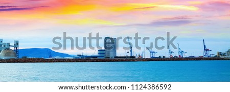 Puerto de Castellon -  industrial port  in  Castellon de la Plana in dawn