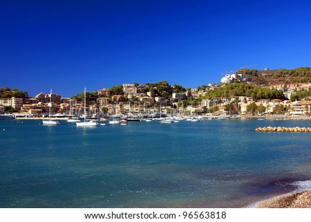 Puerto de Soller Port of Mallorca with boats in balearic island, Spain