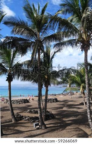 puerto del carmen beach - stock photo
