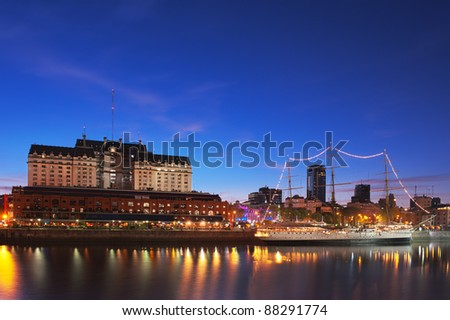 Puerto Madero neighborhood at Night, HDR image, Buenos Aires, Argentina.
