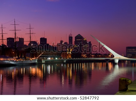Shutterstock Puerto Madero neighbourhood at Night, Skyline,  Buenos Aires, Argentina.