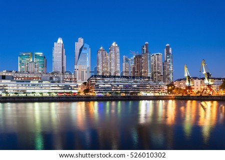 Shutterstock Puerto Madero Waterfront district night view in Buenos Aires, Argentina