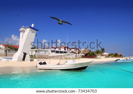 Puerto Morelos beach Mayan riviera Caribbean old lighthouse inclined