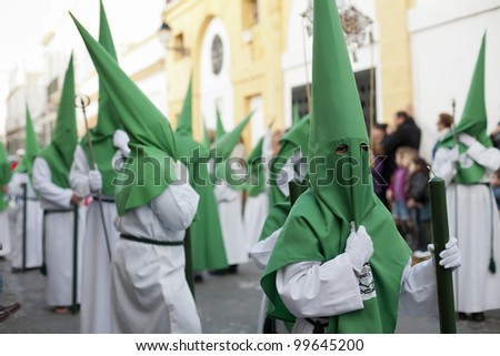 """PUERTO REAL, CADIZ- APRIL 04: the penitents of the brotherhood of """"Santisimo Cristo de la Vera Cruz"""", Hundreds of years tradition, typical in Andalucia. April 04, 2012 in Puerto Real, Cadiz (Spain)"""