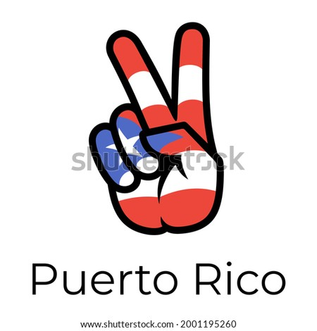 Puerto Rico flag in the form of a peace sign. Gesture V victory sign, patriotic sign, icon for apps, websites, T-shirts, souvenirs, etc., isolated on white background Foto stock ©
