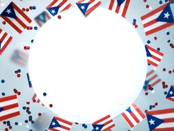 Puerto Rico. freely associated state. Commonwealth. National flags on foggy background. July 25, Constitution Day. Concept freedom and memory and patriotism