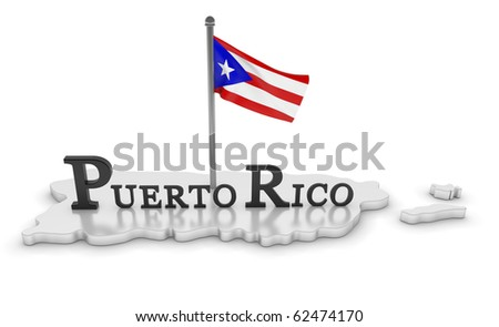 Puerto Rico Tribute/digitally rendered scene with flag and typography