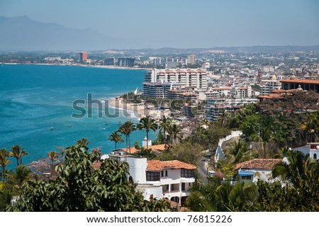 Puerto Vallarta city and Banderas Bay view from above