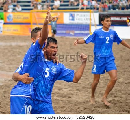 PUERTO VALLARTA - JUNE 21: El Salvador Jose Membreno and Jose Ruiz celebrate after scoring during the Concacaf FIFA world cup qualifier final on June 21 2009, in Puerto Vallarta, Mexico