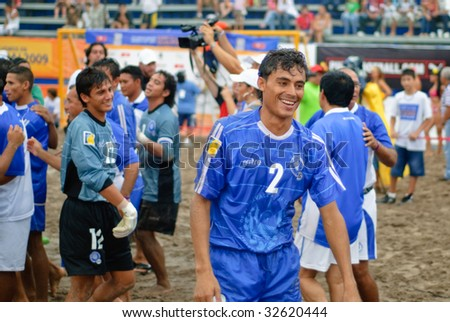 PUERTO VALLARTA - JUNE 21: El Salvador Wilber Zavala smiles with joy after winning the Concacaf FIFA beach soccer world cup qualifier final on June 21 2009, in Puerto Vallarta, Mexico