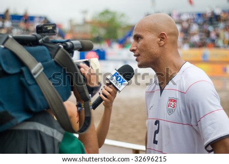 PUERTO VALLARTA - JUNE 21: USA Giovanni Garcia is interviewd after losing to Mexico at the Concacaf beach soccer FIFA world cup qualifier 3rd 4th match on June 21 2009, in Puerto Vallarta, Mexico