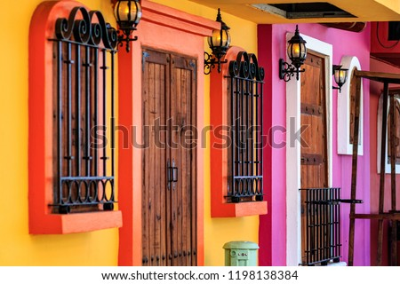 Puerto Vallarta Mexico. Colorful building facade in zona romantica neighborhood. Foto stock ©