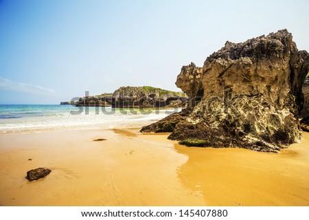Puertu Chicu beach in Llanes, Asturias, Spain #145407880