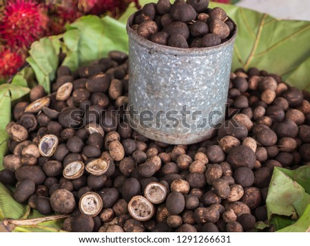 Puff ball mushrooms or Barometer earthstars in Thai local market