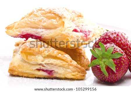 puff pastry pockets with strawberry filling