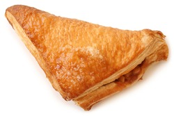 Puff pastry triangle filled with with jam on white background