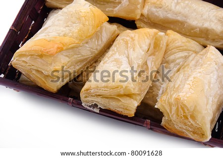 Puff pastry with potato and cabbage on plate