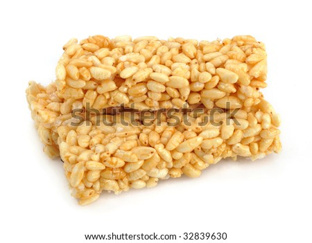 Puffed rice in white background