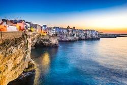 Puglia, Italy. Sunset scenery of Polignano a Mare, town in the province of Bari, Apulia, southern Italia on the Adriatic Sea