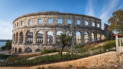 Pula Arena (Pulska Arena, Arena di Pola) - one of the largest preserved Roman Amphitheatres located in Historical Center of Pula, Istria, Croatia